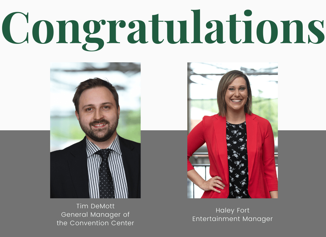 30 under 30 winners - Haley Fort, Entertainment Manager, and Tim DeMott, General Manager of the Conv